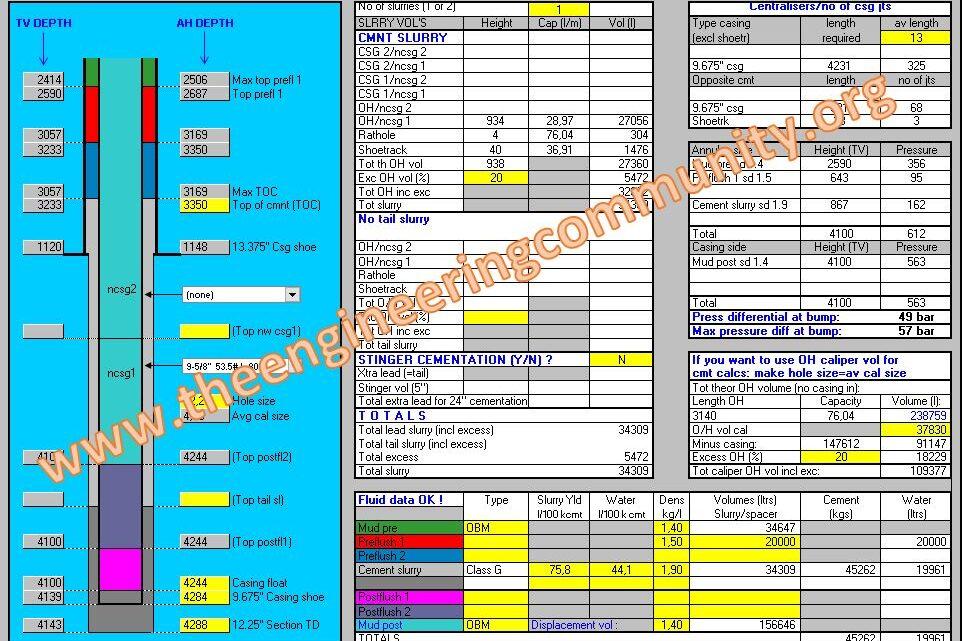 Cementation Calculations Spreadsheet