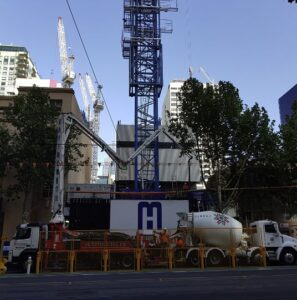 Pumping of SCC from a truck using a crane pump at a building site