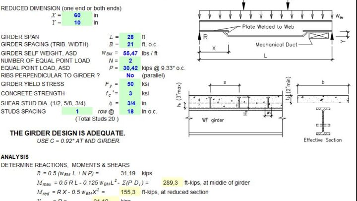 Non-Prismatic Composite Girder Design Spreadsheet