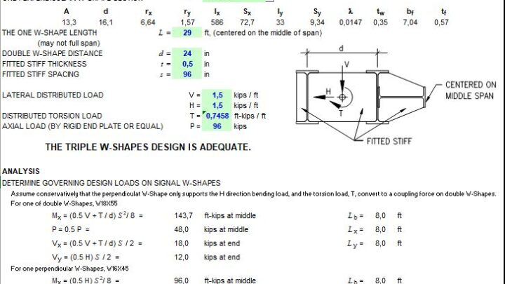 Simply Supported Member Of Triple W-shapes Design Spreadsheet