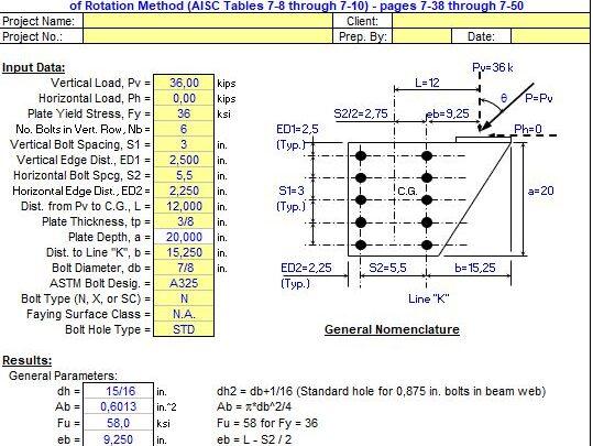 Bolted Bracket Plate Design Spreadsheet
