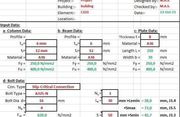 Check Of Shear Plate Bolted Connection Spreadsheet