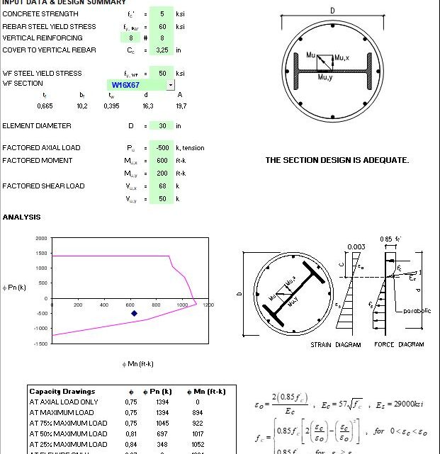 Composite Element Design Based On AISC 360-10 and ACI 318-14 Spreadsheet