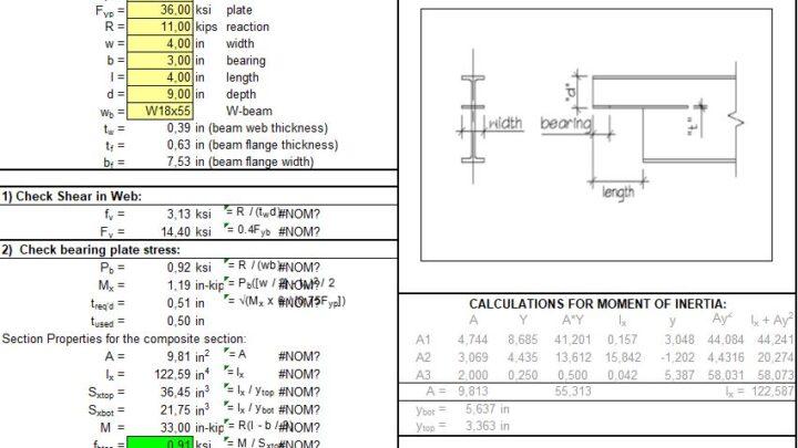 Coped W-Beam Seat Calculation Spreadsheet