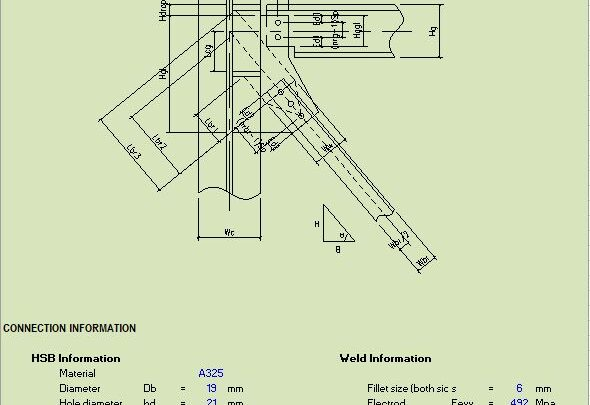 Design Of Beam To Column Web With Vertical Brace Connection Spreadsheet