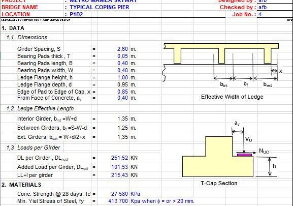 Design Of T-Bent CAP Spreadsheet