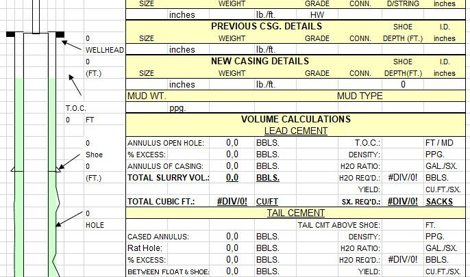 Drilling Cement Calculations Spreadsheet