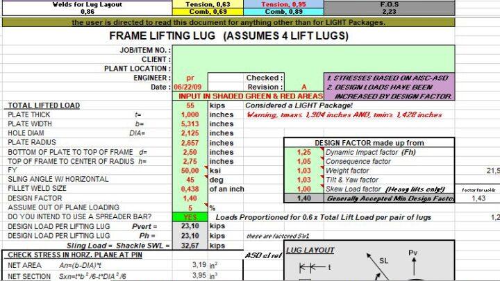 Frame Lifting Lug Design And Calculation Spreadsheet