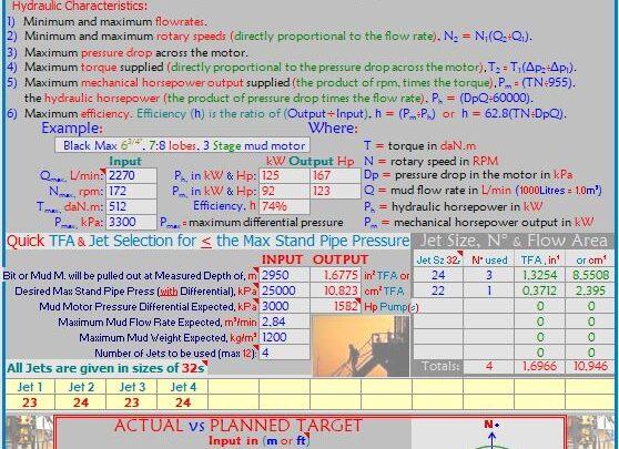 Mud Motors Jets and Surveys Calculation Spreadsheet