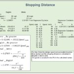 Stopping Distance Calculation Spreadsheet